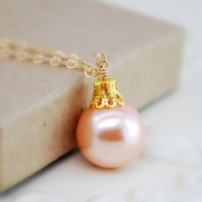 Peach Christmas Ball Necklace