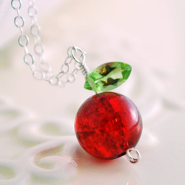 Apple Necklace with a Crackle Glass Bead