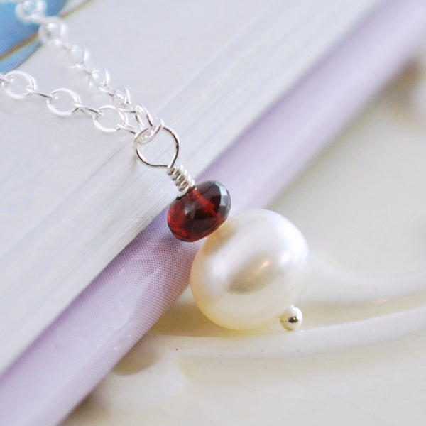 Garnet and Pearl Drop Necklace
