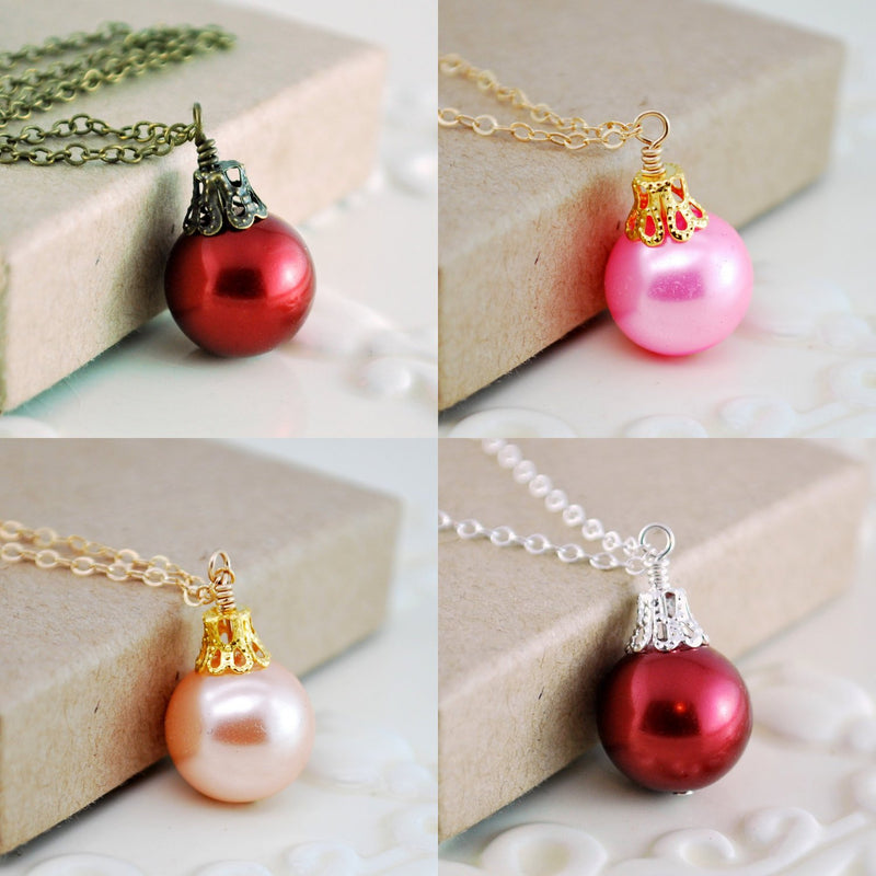 Fun Holiday Ornament Necklace and Pink Glass Pearl