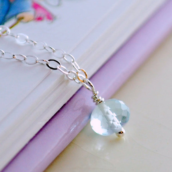 Simple Pale Blue Topaz Necklace for Girls