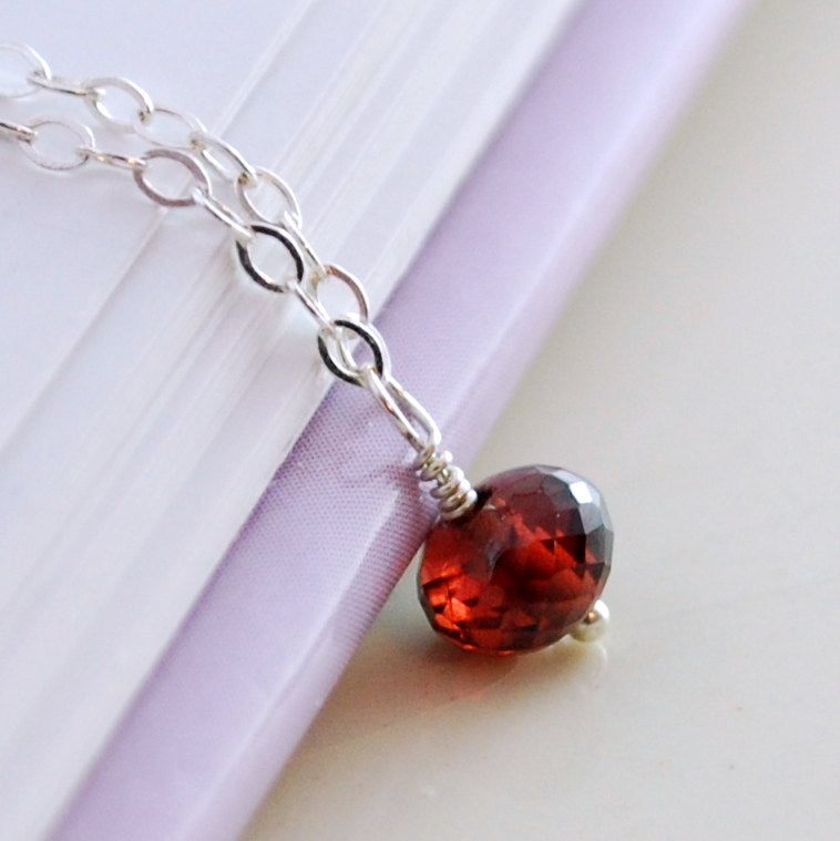 Dainty Garnet Necklace for Girls