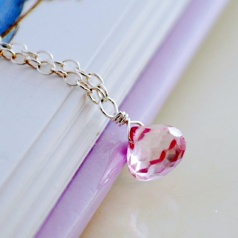 Pink Topaz Pendant Necklace for Girls