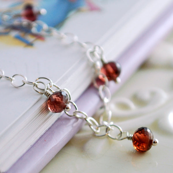 Real Garnet Anklet in Sterling Silver