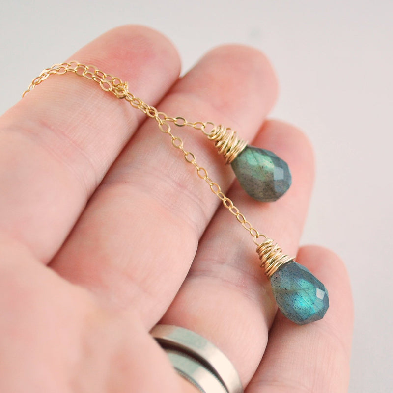 Labradorite Lariat Necklace with Genuine Gemstone Teardrops