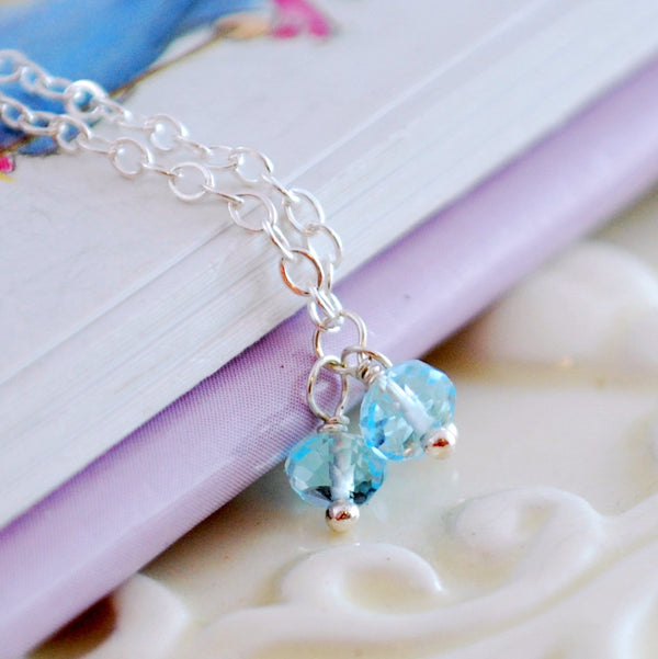 Blue Topaz Trio Necklace for Child in Sterling Silver