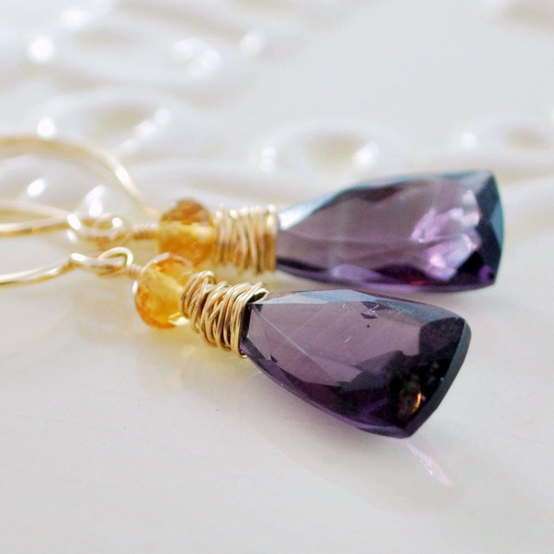 Genuine Citrine Earrings with Amethyst Quartz and Trillion Gemstone