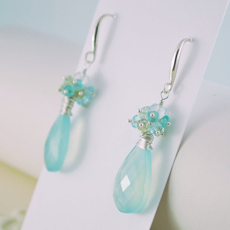 Aqua Bridal Earrings in Sterling Silver - Spring Sky