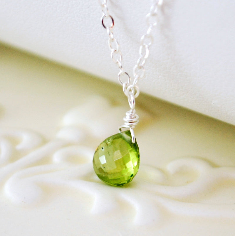 Dainty Peridot Necklace for Girls