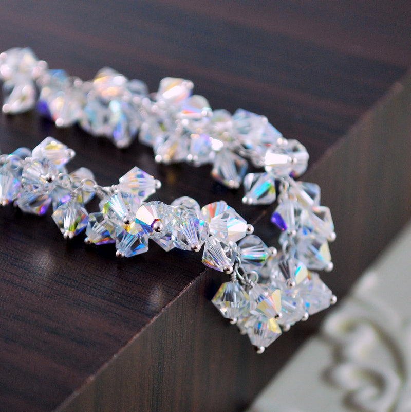 Winter Wedding Bracelet with Swarovski Crystals - Icy Morning