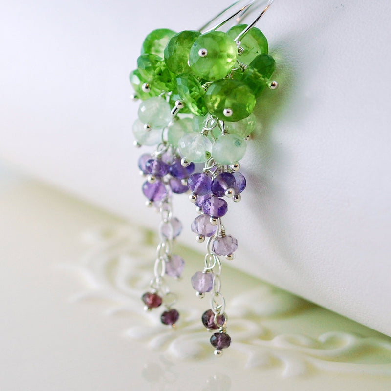 Spring Bridal Earrings with Peridot Prehnite and Amethyst - Vineyard