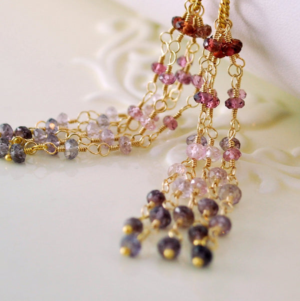 Long Gemstone Tassel Earrings with Genuine Spinel Garnet
