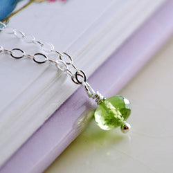 Tiny Peridot Necklace for Girls