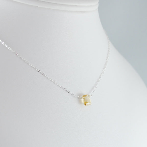 Emerald Cut Citrine Necklace for Girls