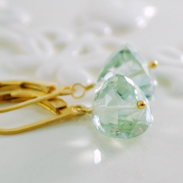 Green Amethyst Earrings in Gold or Silver