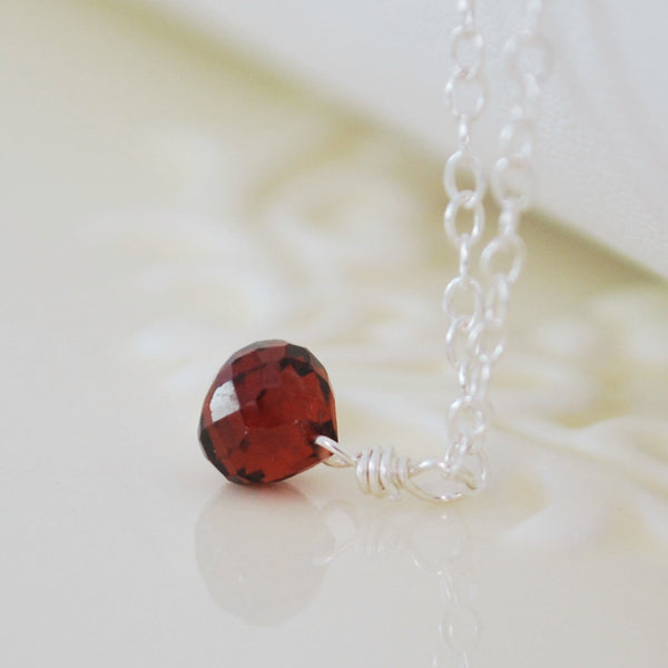 Garnet Necklace for Girls in Sterling Silver