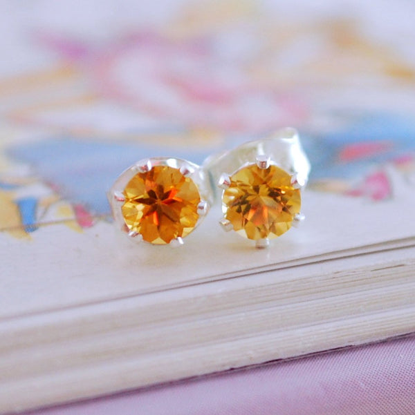 Real Citrine Stud Earrings