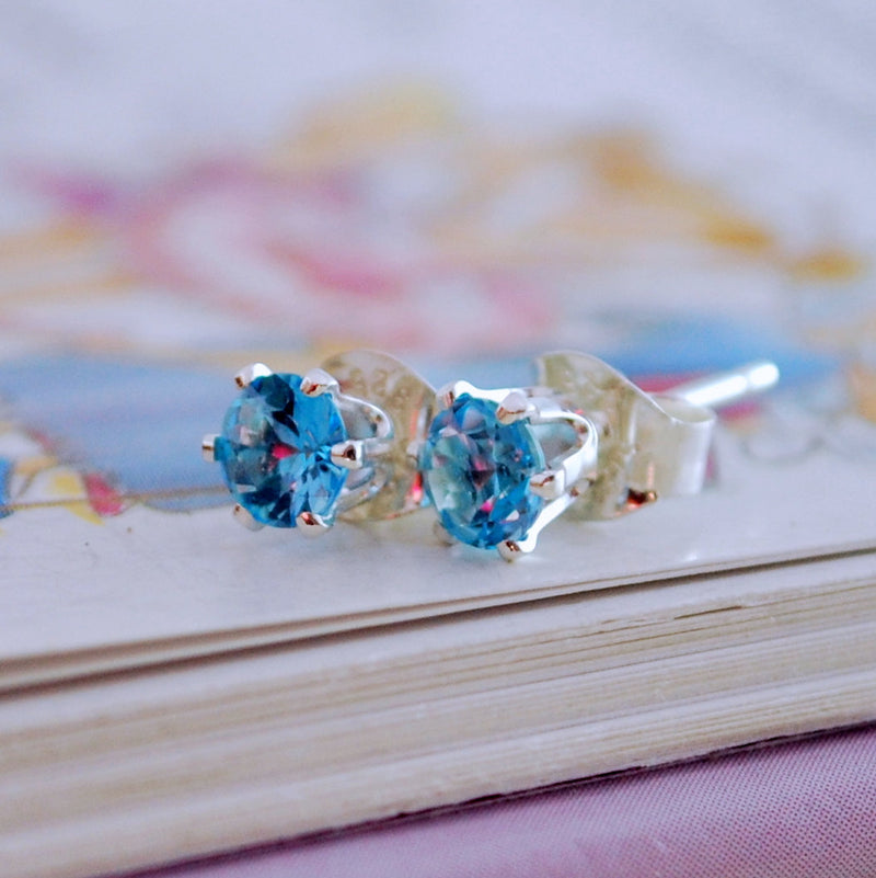 Bright Blue Topaz Stud Earrings for Child