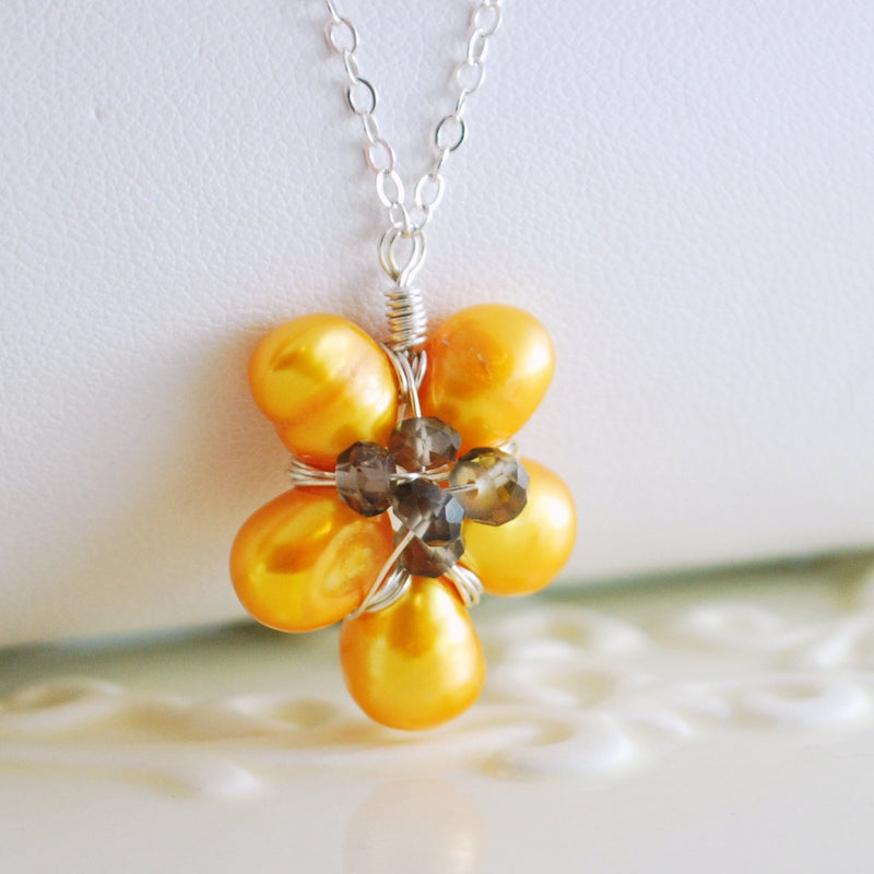 Sunflower Necklace with Yellow Freshwater Pearls