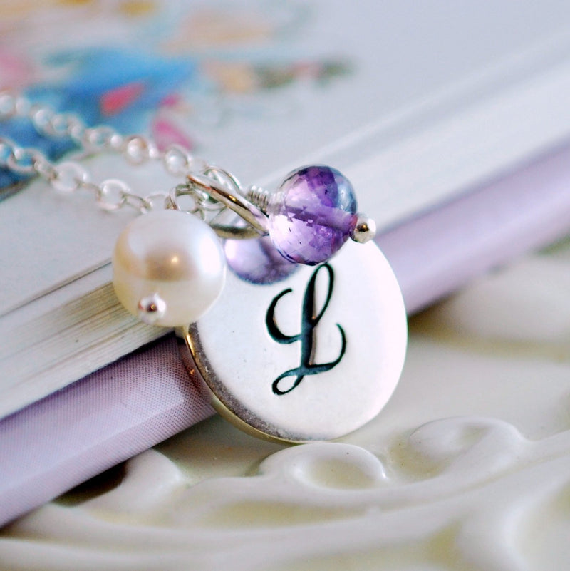 Engraved Initial Necklace in Sterling Silver with Birthstones