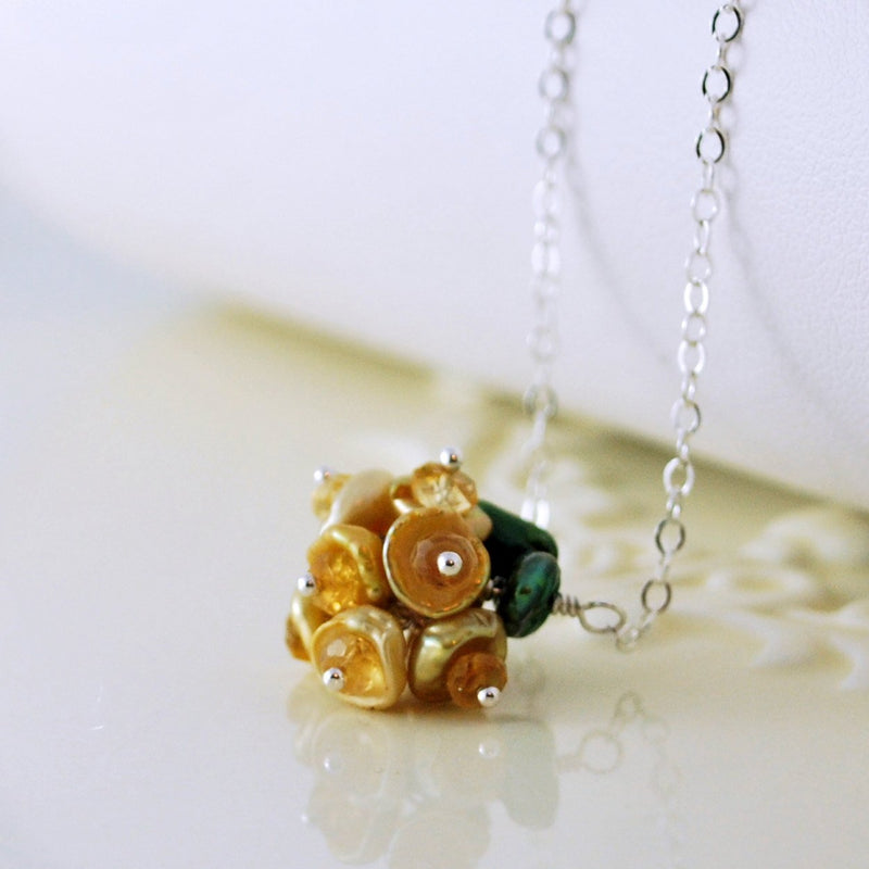 Gold Flower Blossom Necklace with Citrine Gemstones