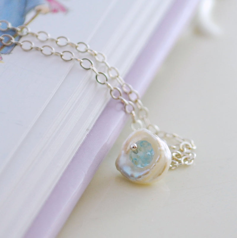 Dainty Pearl and Blue Topaz Necklace for Child