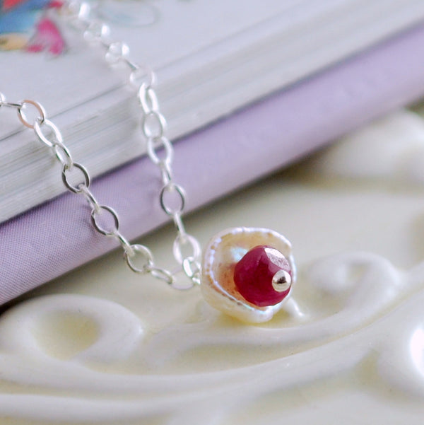 Dainty Pearl and Ruby Necklace for Girls