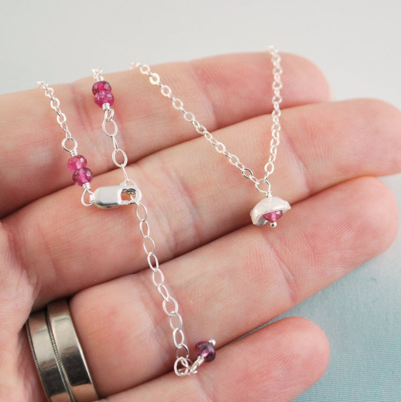 Dainty White Pearl and Pink Tourmaline Necklace