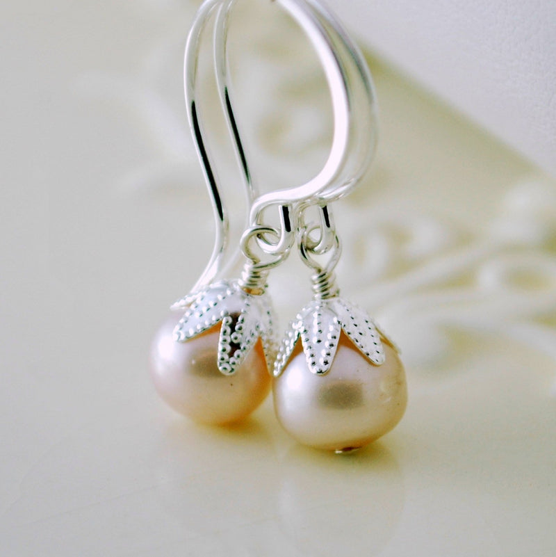 Pale Pink Earrings and Genuine Freshwater Pearl