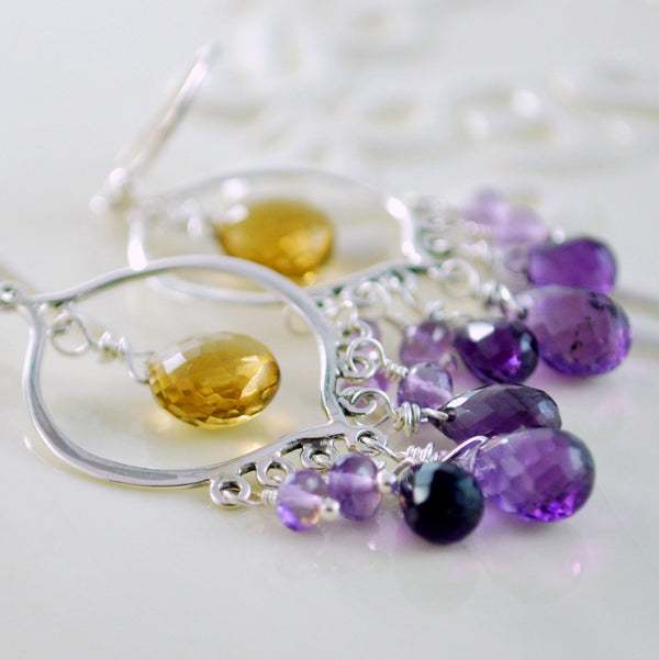 Chandelier Earrings with Purple Amethyst, and Caramel Beer Quartz