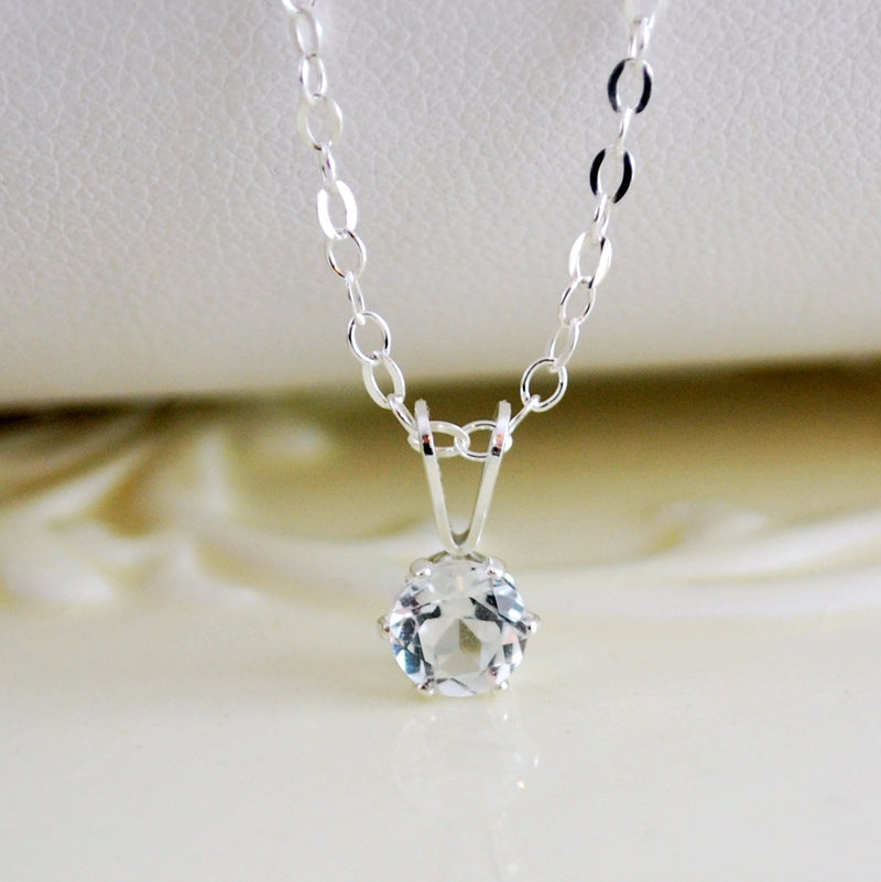 White Topaz Necklace for Girls in Sterling Silver