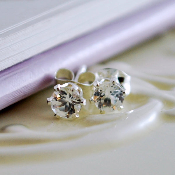 White Topaz Stud Earrings in Sterling Silver