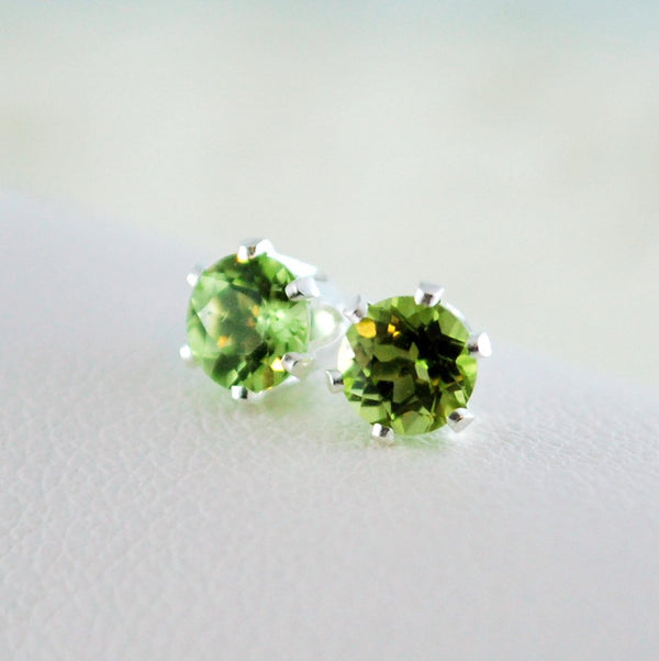 Real Peridot Stud Earrings in Sterling Silver