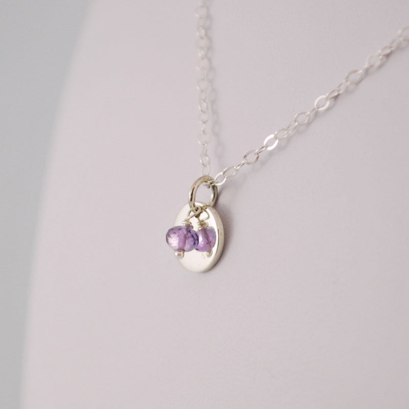Custom Birthstone Necklace for Tween in Sterling Silver