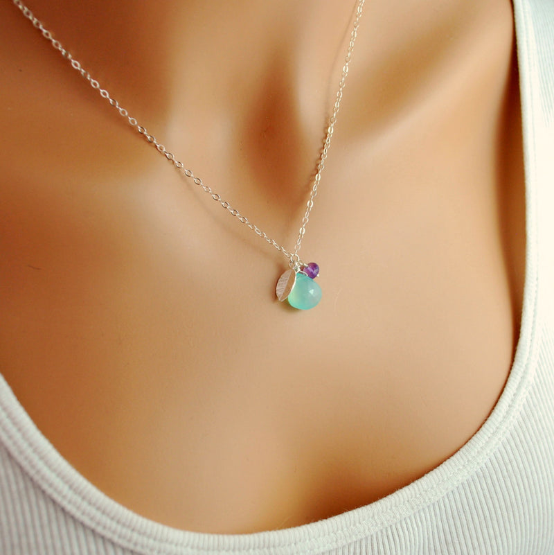 Aqua Bridesmaid Necklace in Sterling Silver