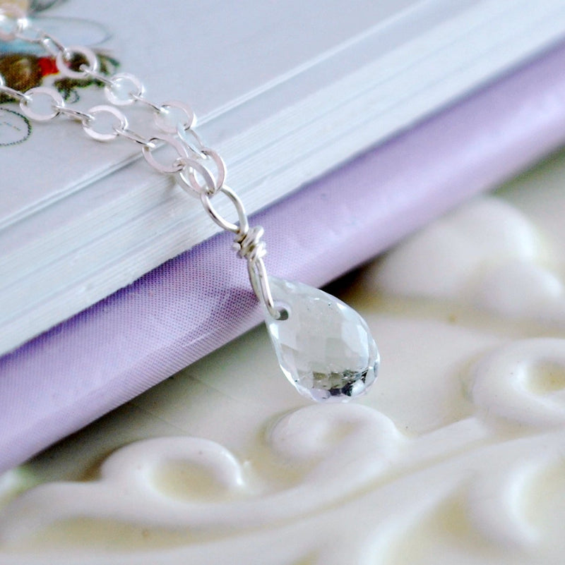 White Topaz Necklace for Child in Sterling Silver