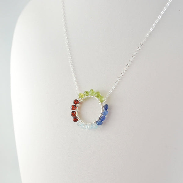 Mother's Day Necklace with Wire Wrapped Circle Pendant