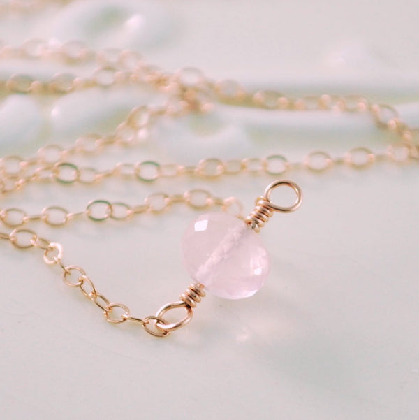 Rose Gold Necklace, Pastel Pink Rose Quartz