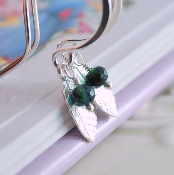 Sterling Silver Leaf Earrings with Birthstone