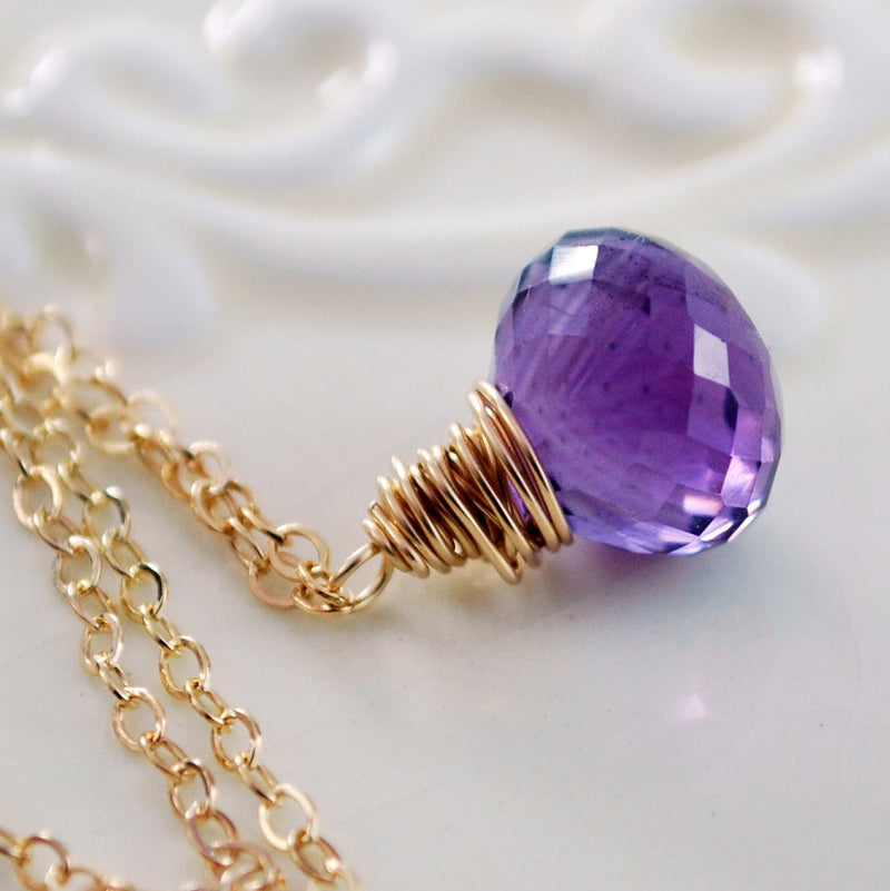 Amethyst Pendant Necklace with Purple Gemstone Onion