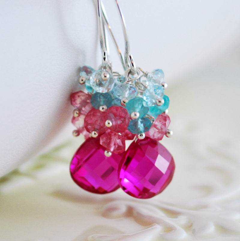 Hot Pink Earrings with Aqua Gemstones - Summer Bouquet