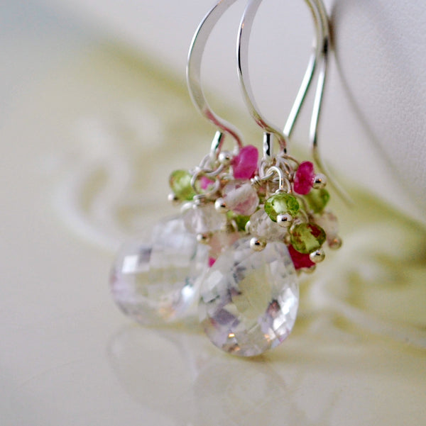 Spring Bridal Earrings with Crystal Quartz Peridot and Pink Sapphire - Spring Thaw