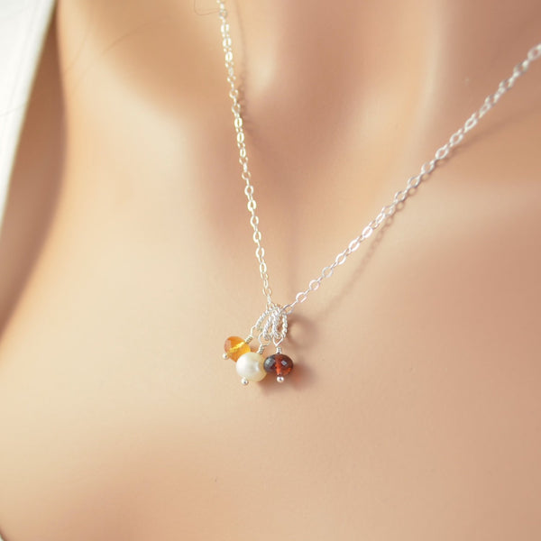 Mother's Day Birthstone Necklace in Sterling Silver