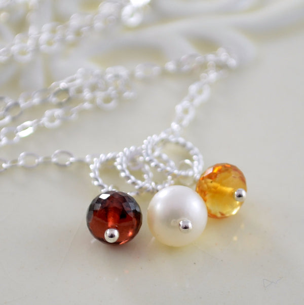 Mother's Day Necklace with Six Birthstones