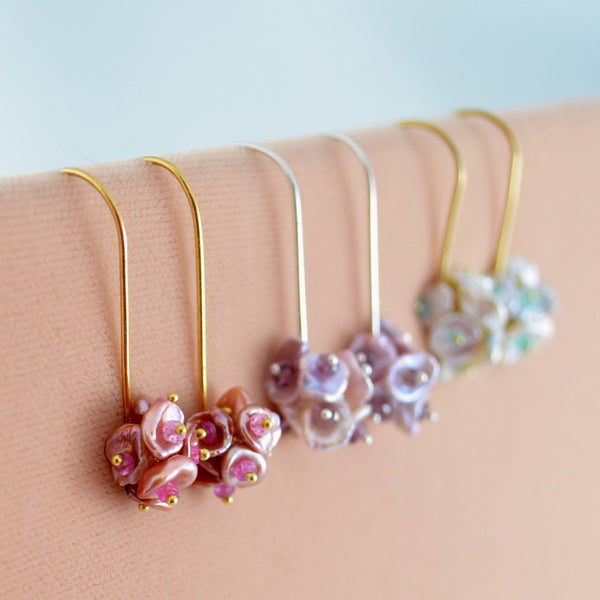 Pearl Cluster Bridesmaid Earrings for Garden Weddings