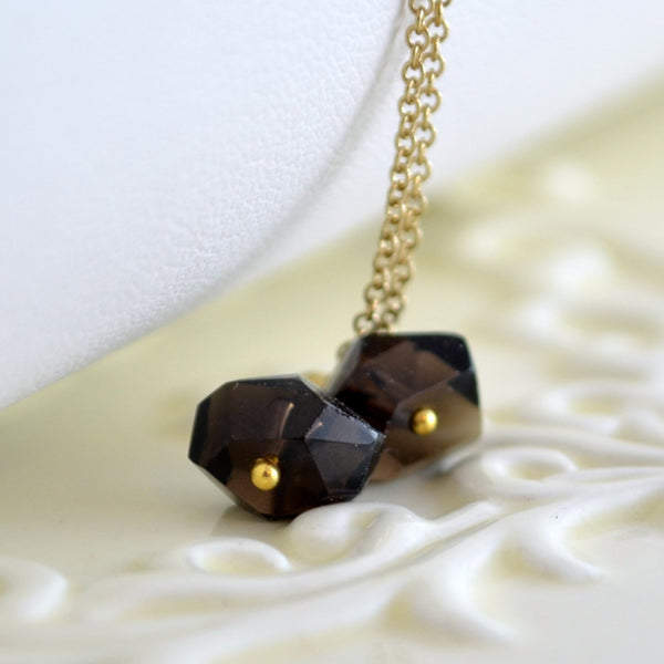 Smoky Quartz Earrings with Chocolate Brown Nugget