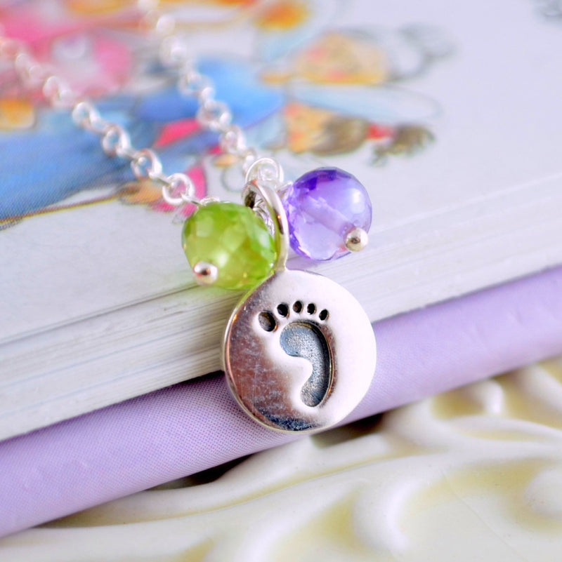 New Mom Necklace with Sterling Silver Baby Footprint Charm
