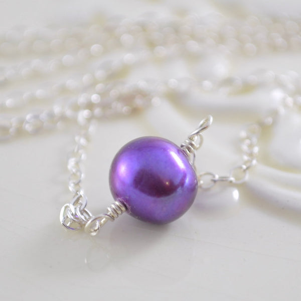 Single Pearl Necklace, Real Freshwater Pearl Choker, Grape Purple