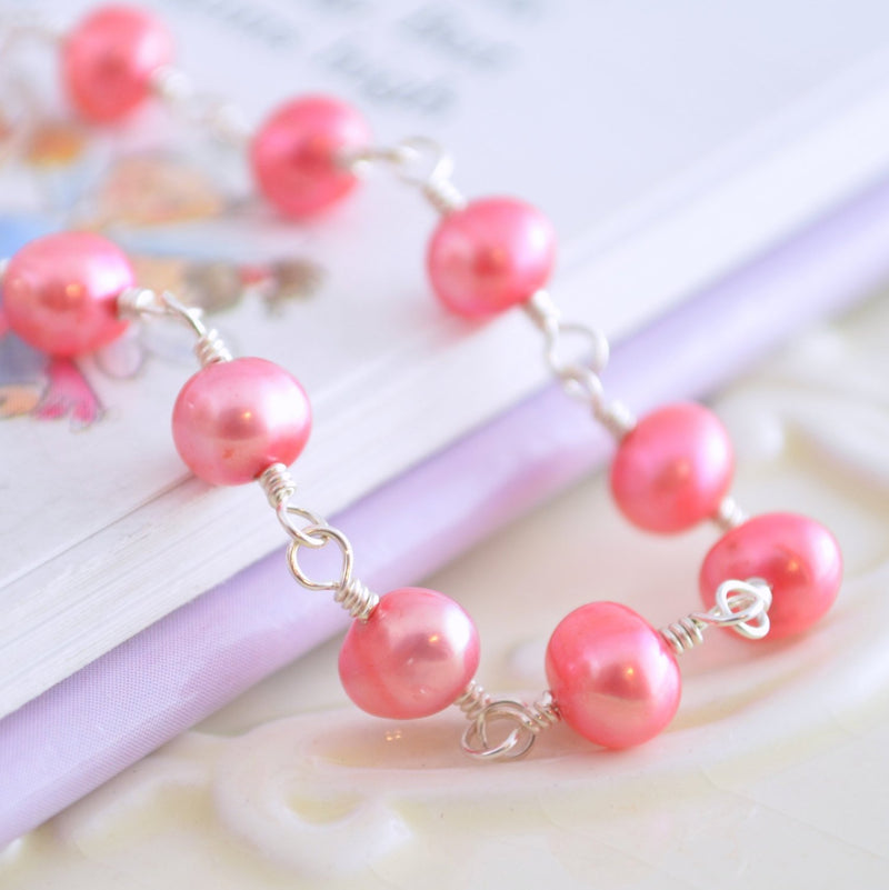 Coral Pink Pearl Bracelet for Girls