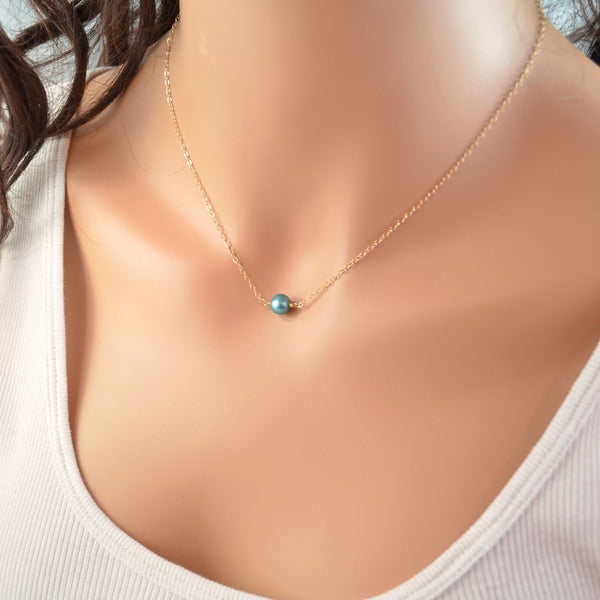 Floating Choker Necklace and Teal Freshwater Pearl